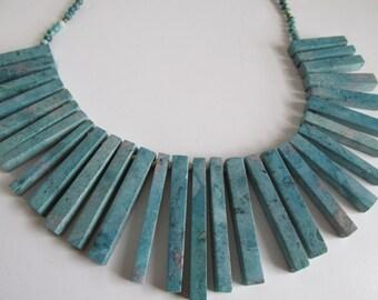 Bohemian Turquoise Necklace Blue Howelite Beaded Bib Necklace Turquoise Boho Necklace Gemstone Necklace Boho turquoise jewelry Etsy trends
