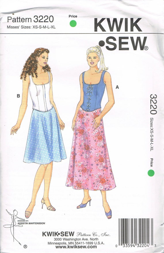 Size XS-XL Misses\' Sewing Pattern - Flared Skirt Pattern - Lace Up ...