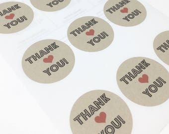 """2.5"""" Kraft Brown Thank You stickers, customer thank you sticker, round thank you, packaging sticker, thank you labels, packaging supplies"""