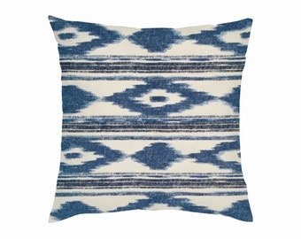 Blue and Off White Aztec Pillows, Mexican Style Cushions, Spanish Decor, Mexican Pillows for your Home or Business