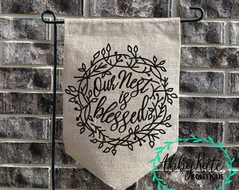 Our Nest is Blessed Burlap Garden Flag (Ruffle, Pendant, Rectangle)