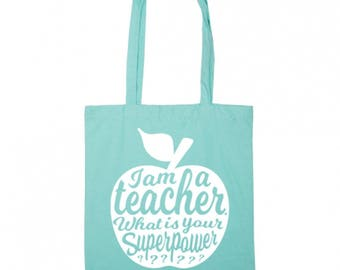 Teacher tote bag MINT | Teacher gift idea | Teacher bag appreciation gift | Gift for teacher | National teacher day | Shopping tote bag