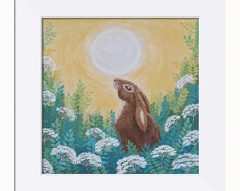 Moon Gazing Hare Picture - Limited Edition Fine Art Print, Original Artwork by Tracey Zorek
