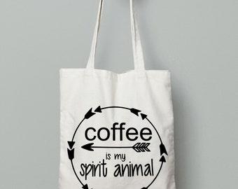 Coffee Quote Bag - Canvas Tote Bag - Printed Tote Bag - Market Bag - Canvas Bag - Cotton Tote Bag - Large Canvas Tote - Tote Bag - Book Bag