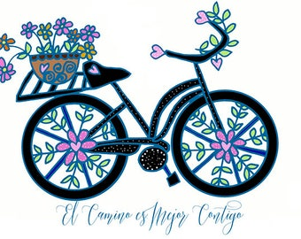 Bicycle Art Greeting Card 5X7 Blank Inside by Elizabeth Claire