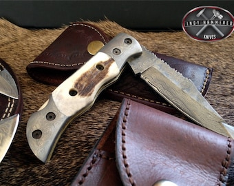 Damascus Pocket Knife  - Perfect Fathers Day Gift
