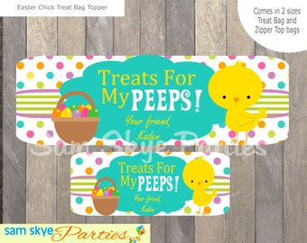 Easter Treat Personalized Bag Topper DIY Printable, PDF File
