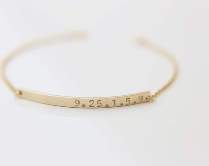 Date Bar Bracelet - Gold filled/Sterling Silver Personalized Name Plate Bracelet   EB026