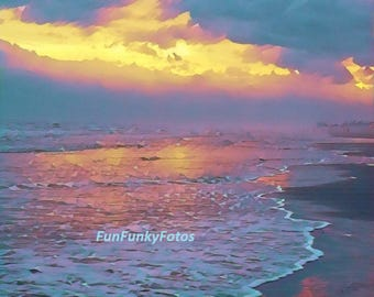 Color photograph of sunset on the beach at Galveston, Texas
