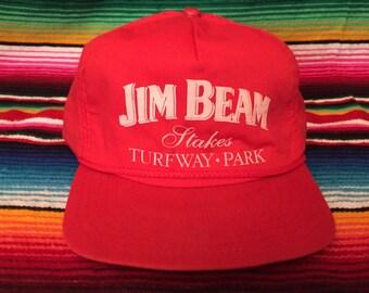 VTG 90s Jim Beam Stakes Turfway Park Horse Racing Red snapback hat