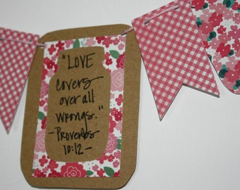 "Mini Scripture Bunting- ""Love covers all wrongs"" (Proverbs 10:12) - Option 1"