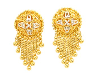 gold earrings of fancy jewelry indian collection