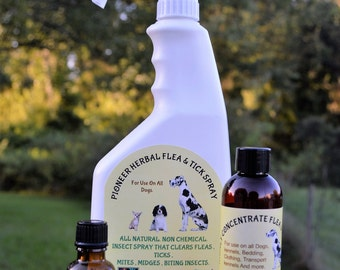 Natural Flea & Tick Spray Kit (makes up to 2 gallons), essential oils, organic flea spray, itch relief, chemical free