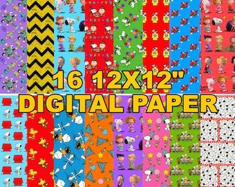"Peanuts - Charlie Brown and Snoopy - Digital Paper - 16 jpeg files 12x12"" 300 dpi"