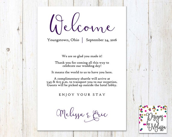 100+ Wedding Hotel Guest Welcome Letter – yasminroohi