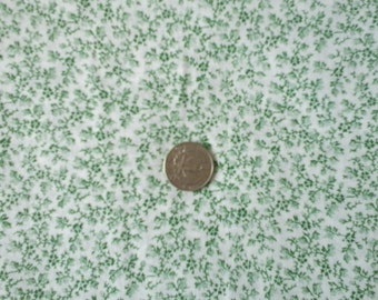 """Sale Green and White Small Floral Print 100% Cotton Fabric 1 yd x 43/44"""""""