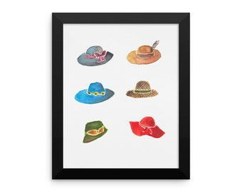 Crazy hat lady framed poster