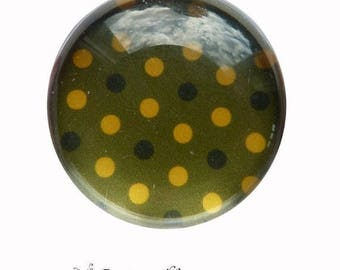 2 cabochons glue dots yellow green glass 16 mm M64