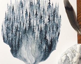 Pins Indigo - aquarelle Art Print - 8 x 10 - pins, forêt, bleu, indigo, northwoods, pins