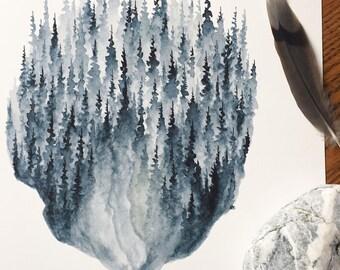 Indigo Pines - Watercolor Art Print - 8x10 - pine trees, forest, blue, indigo, northwoods, pines