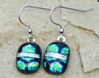 Dichroic Glass Drop Earrings - Sterling Silver Wires - Blue Green Shimmering Iridescent Colours Patterned with a Smooth Finish - Gift Boxed