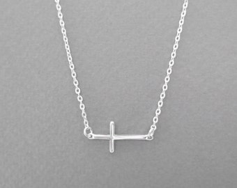 Beautiful, Sterling silver, Cross, Silver, Necklace, Modern, Minimal, Jewelry, Lovers, Friends, Mom, Sister, Gift