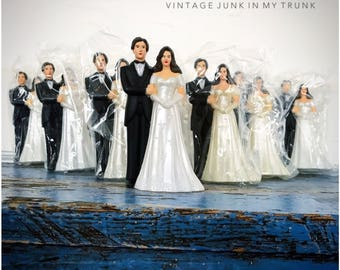 Vintage Wedding Cake Topper Plastic Bride Groom Brunette White Dress New Old Stock NOS Random Choice One