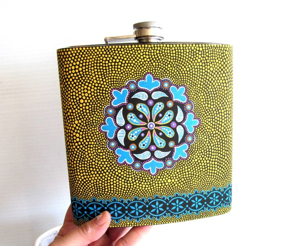 Huge 40oz Flask Hand Painted stainless steel flask ENORMOUS For the serious drinker