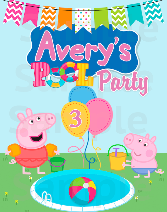 Peppa pig pool party label table sign printable file - Peppa pig piscina ...