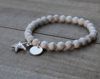 Summer Outdoors bracelet, White howlite beaded bracelet, Beach bracelet, Starfish Bracelet, Initial howlite bracelet, beaded gemstone