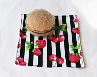 Rockabilly Cocktail Napkins Cloth Set - Picnic Fabric Stripes Cherry Women Pink Red - Party Eco-Friendly Fruit Homewares Table Linen Coaster
