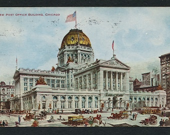Chicago, Illinois Postcard - Vintage Color Postcard of the new Post Office Building