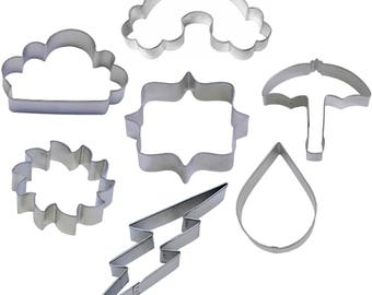 7 Piece Weather Cookie Cutter Set Rainbow Sun Rain Drop Cloud Umbrella