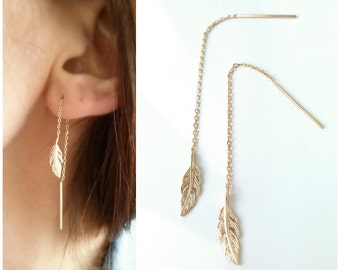 Chains of gold plated earrings 18 k, feather - gold plated chain 750-750 gold plated chain through ears of feather earrings