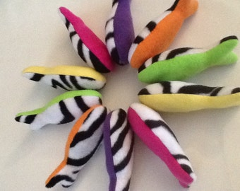 Rainbow Zebra Catnip Fish (set of 5)