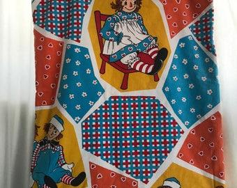 70s String Bag / Raggedy Ann & Andy / Cloth Bag / Made in USA