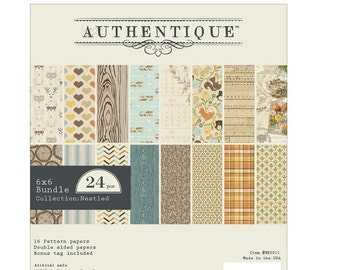 """AUTHENTIQUE Nestled Collection, Paper Crafting Kit, 24 sheets, 6"""" X 6"""" paper pad, Woodland/Autumn Theme Scrapbook and Papercraft"""