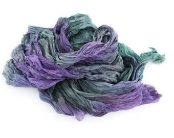 Purple silk scarf Lavender Field - purple, green, grey, lavender silk scarf.