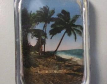 "4"" x 2-5/8"" Glass Block Paperweight, MIAMI BEACH, FLORIDA, c. 1936"