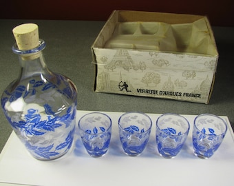 Vintage Verrerie D'Arques Liquor Set~Decanter & 4 Shot Glasses France