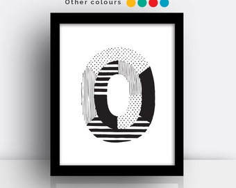 Letter O print - hand drawn typeface