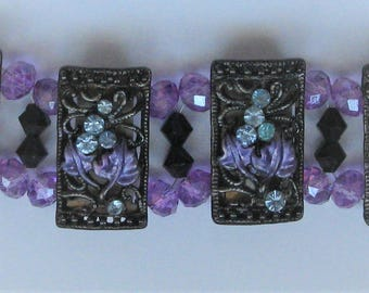 BR52 - Unique handmade antique look purple and blue bracelet