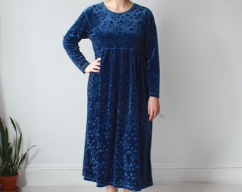 vintage plus size dress | blue velvet floral baby doll dress, size 12-14