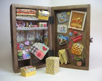 Sewing box, diorama sewing miniature, sewing dollhouse, hadmade miniature, sewing 1-12 scene - Dollhouses Miniature scale 1:12