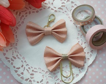 Peach with woven silver bow