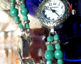 Silver Watch, Swarovski Teal Pearl and Silver Jewelry W065