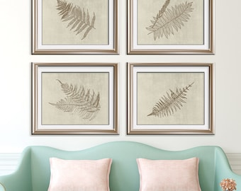 Ferns Garden Botanical Prints (Series M-Horizontal) Set of 4 - Art Prints (Featured in Bark on Stone Wash)