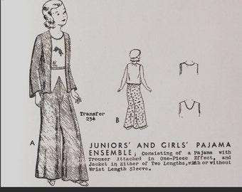 Vintage 30s Palazzo Girls Pajama Trousers Sewing Pattern 132 Size 4