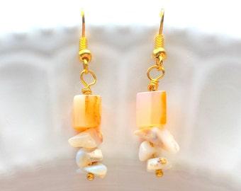 Carnelian and Opal Earrings, Carnelian earrings Gemstone Earrings, Orange earrings, Drop earrings, Boho earrings, Gold earrings