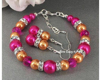 Fuchsia and Orange Bracelet Hot Pink and Orange Bracelet Bridesmaids Gift Pearl Bracelet Wedding Bracelet Bridesmaids Bracelet